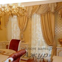 Элитные шторы с ламбрекеном в столовую