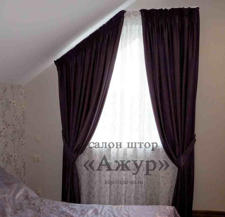 Шторы в спальню со скошенным окном