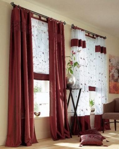 римские шторы с отделкой
